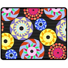 Colorful Retro Circular Pattern Fleece Blanket (medium)  by DanaeStudio