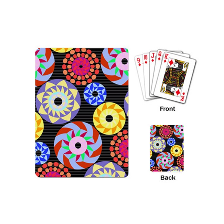 Colorful Retro Circular Pattern Playing Cards (Mini)