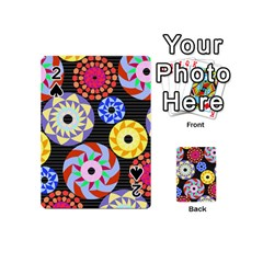 Colorful Retro Circular Pattern Playing Cards 54 (mini)  by DanaeStudio