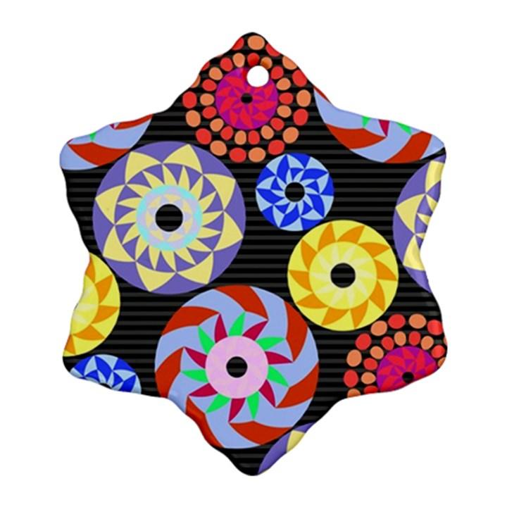 Colorful Retro Circular Pattern Ornament (Snowflake)