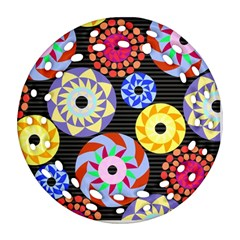 Colorful Retro Circular Pattern Round Filigree Ornament (2side) by DanaeStudio