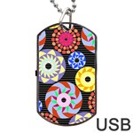 Colorful Retro Circular Pattern Dog Tag USB Flash (Two Sides)