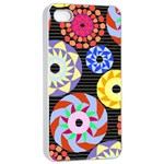 Colorful Retro Circular Pattern Apple iPhone 4/4s Seamless Case (White) Front