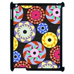 Colorful Retro Circular Pattern Apple iPad 2 Case (Black)