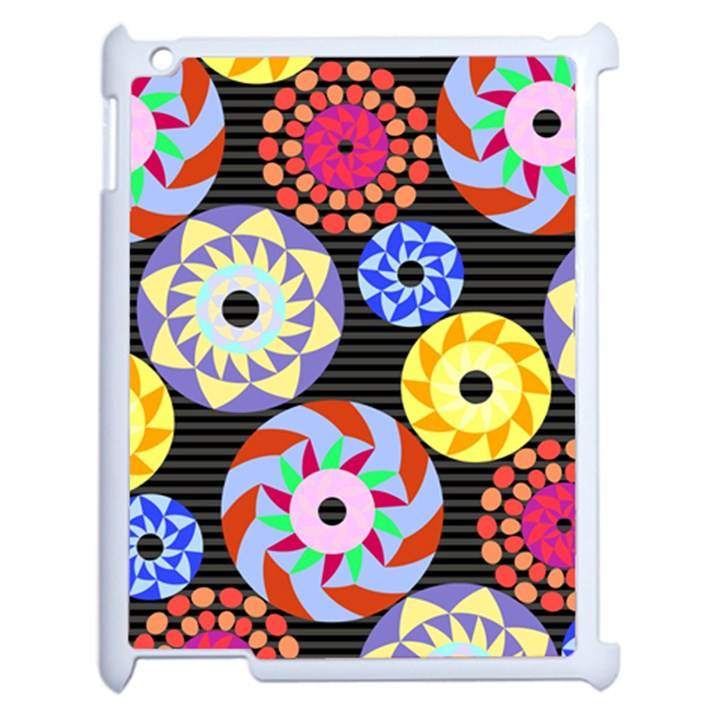 Colorful Retro Circular Pattern Apple iPad 2 Case (White)