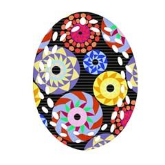 Colorful Retro Circular Pattern Oval Filigree Ornament (2-Side)