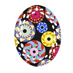 Colorful Retro Circular Pattern Oval Filigree Ornament (2-Side)  Front