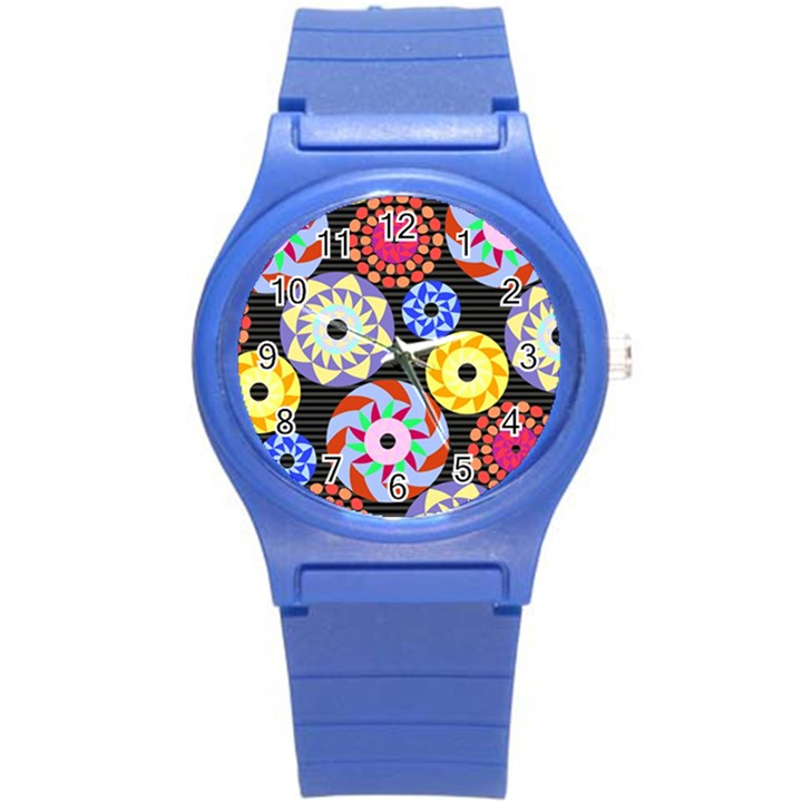 Colorful Retro Circular Pattern Round Plastic Sport Watch (S)