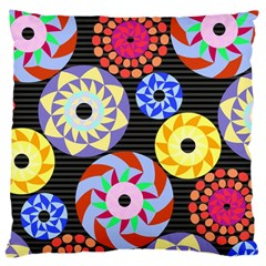 Colorful Retro Circular Pattern Large Cushion Case (two Sides) by DanaeStudio