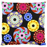 Colorful Retro Circular Pattern Large Cushion Case (Two Sides)