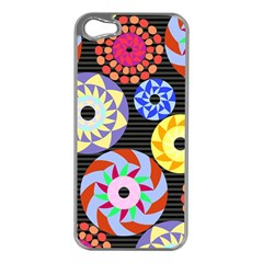 Colorful Retro Circular Pattern Apple Iphone 5 Case (silver) by DanaeStudio