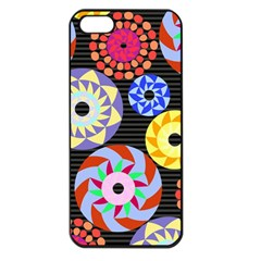 Colorful Retro Circular Pattern Apple Iphone 5 Seamless Case (black) by DanaeStudio