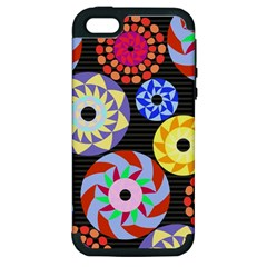 Colorful Retro Circular Pattern Apple Iphone 5 Hardshell Case (pc+silicone) by DanaeStudio