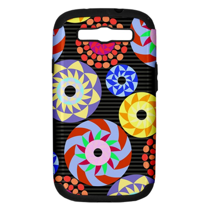 Colorful Retro Circular Pattern Samsung Galaxy S III Hardshell Case (PC+Silicone)