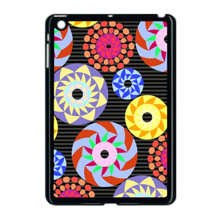 Colorful Retro Circular Pattern Apple iPad Mini Case (Black)