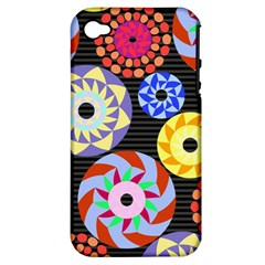 Colorful Retro Circular Pattern Apple Iphone 4/4s Hardshell Case (pc+silicone) by DanaeStudio