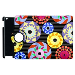 Colorful Retro Circular Pattern Apple Ipad 2 Flip 360 Case by DanaeStudio