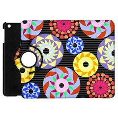 Colorful Retro Circular Pattern Apple Ipad Mini Flip 360 Case by DanaeStudio