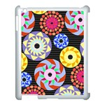 Colorful Retro Circular Pattern Apple iPad 3/4 Case (White) Front