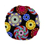 Colorful Retro Circular Pattern Standard 15  Premium Round Cushions