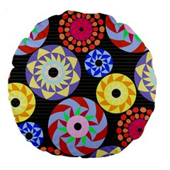 Colorful Retro Circular Pattern Large 18  Premium Round Cushions by DanaeStudio