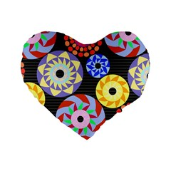 Colorful Retro Circular Pattern Standard 16  Premium Heart Shape Cushions by DanaeStudio