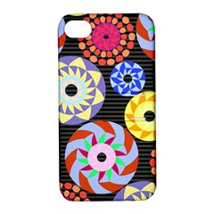 Colorful Retro Circular Pattern Apple iPhone 4/4S Hardshell Case with Stand