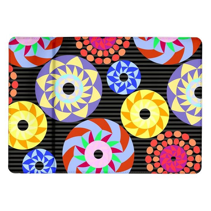Colorful Retro Circular Pattern Samsung Galaxy Tab 10.1  P7500 Flip Case