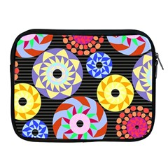 Colorful Retro Circular Pattern Apple Ipad 2/3/4 Zipper Cases by DanaeStudio