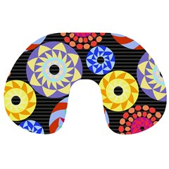 Colorful Retro Circular Pattern Travel Neck Pillows by DanaeStudio