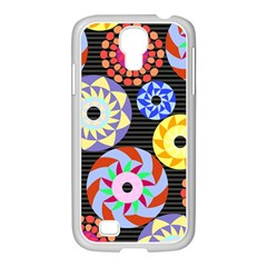 Colorful Retro Circular Pattern Samsung Galaxy S4 I9500/ I9505 Case (white) by DanaeStudio