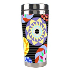 Colorful Retro Circular Pattern Stainless Steel Travel Tumblers by DanaeStudio