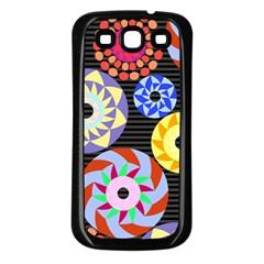 Colorful Retro Circular Pattern Samsung Galaxy S3 Back Case (black) by DanaeStudio
