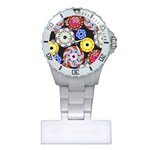 Colorful Retro Circular Pattern Plastic Nurses Watch Front