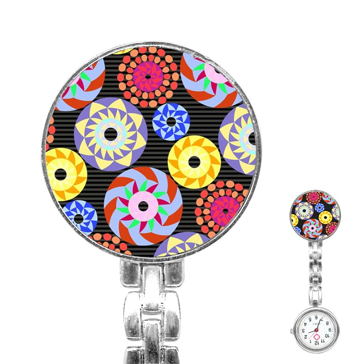 Colorful Retro Circular Pattern Stainless Steel Nurses Watch