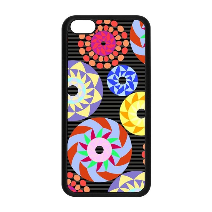 Colorful Retro Circular Pattern Apple iPhone 5C Seamless Case (Black)