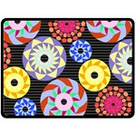 Colorful Retro Circular Pattern Double Sided Fleece Blanket (Large)