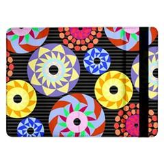Colorful Retro Circular Pattern Samsung Galaxy Tab Pro 12 2  Flip Case by DanaeStudio
