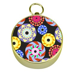 Colorful Retro Circular Pattern Gold Compasses