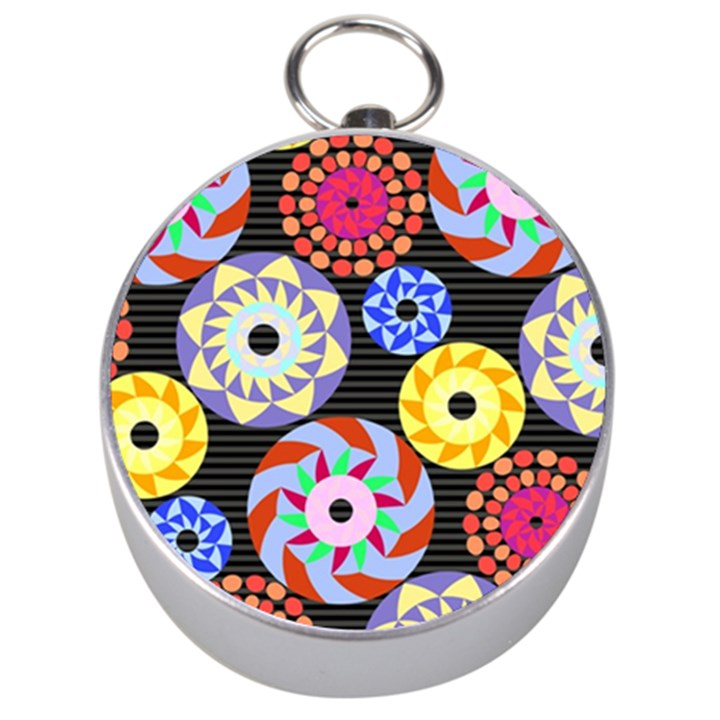 Colorful Retro Circular Pattern Silver Compasses