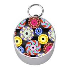 Colorful Retro Circular Pattern Mini Silver Compasses by DanaeStudio