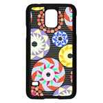 Colorful Retro Circular Pattern Samsung Galaxy S5 Case (Black) Front