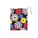 Colorful Retro Circular Pattern Drawstring Pouches (Small)