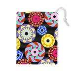 Colorful Retro Circular Pattern Drawstring Pouches (Large)