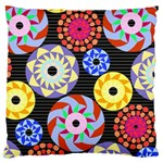 Colorful Retro Circular Pattern Large Flano Cushion Case (Two Sides)