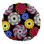 Colorful Retro Circular Pattern Large 18  Premium Flano Round Cushions