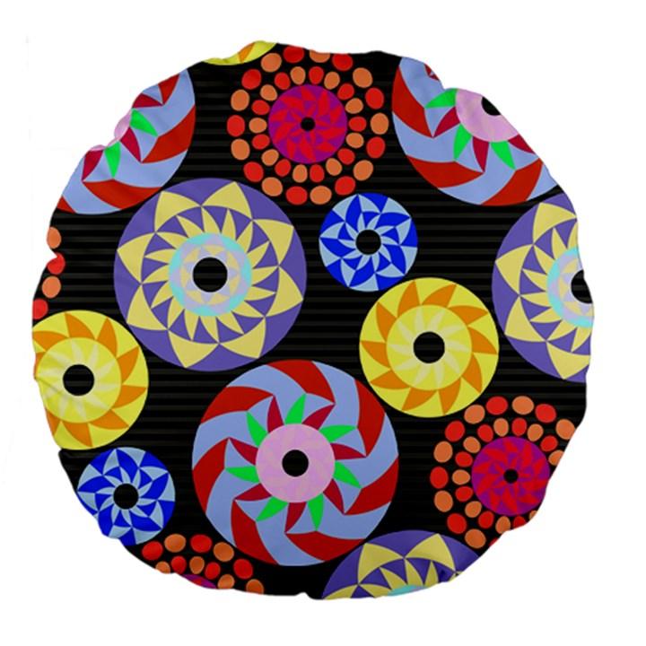 Colorful Retro Circular Pattern Large 18  Premium Flano Round Cushions