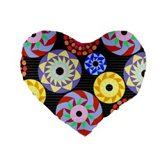 Colorful Retro Circular Pattern Standard 16  Premium Flano Heart Shape Cushions by DanaeStudio