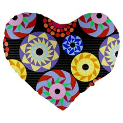 Colorful Retro Circular Pattern Large 19  Premium Flano Heart Shape Cushions by DanaeStudio