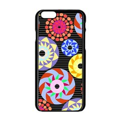 Colorful Retro Circular Pattern Apple Iphone 6/6s Black Enamel Case by DanaeStudio